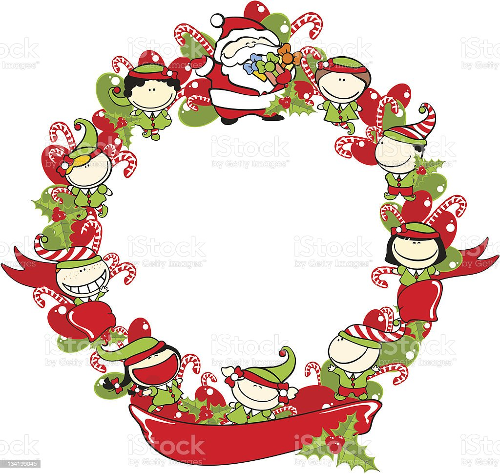Christmas wreath with a ribbon royalty-free stock vector art