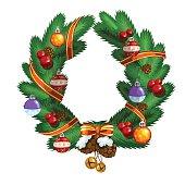 Christmas wreath with ball, pinecone and ribbon, Christmas decor
