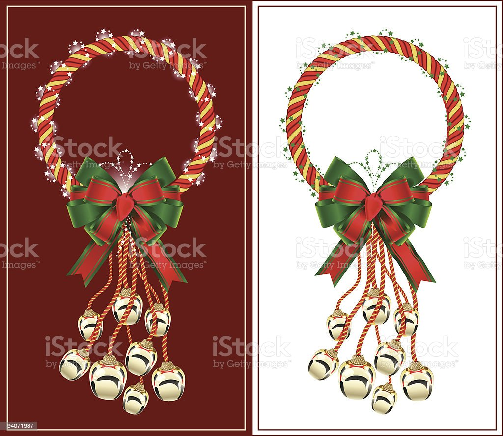 Christmas wreath with bells royalty-free stock vector art