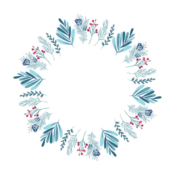 ilustrações de stock, clip art, desenhos animados e ícones de christmas wreath with berries, pine cone and branches. vector template for greeting card. winter frame isolated on white background with place for text - hygge