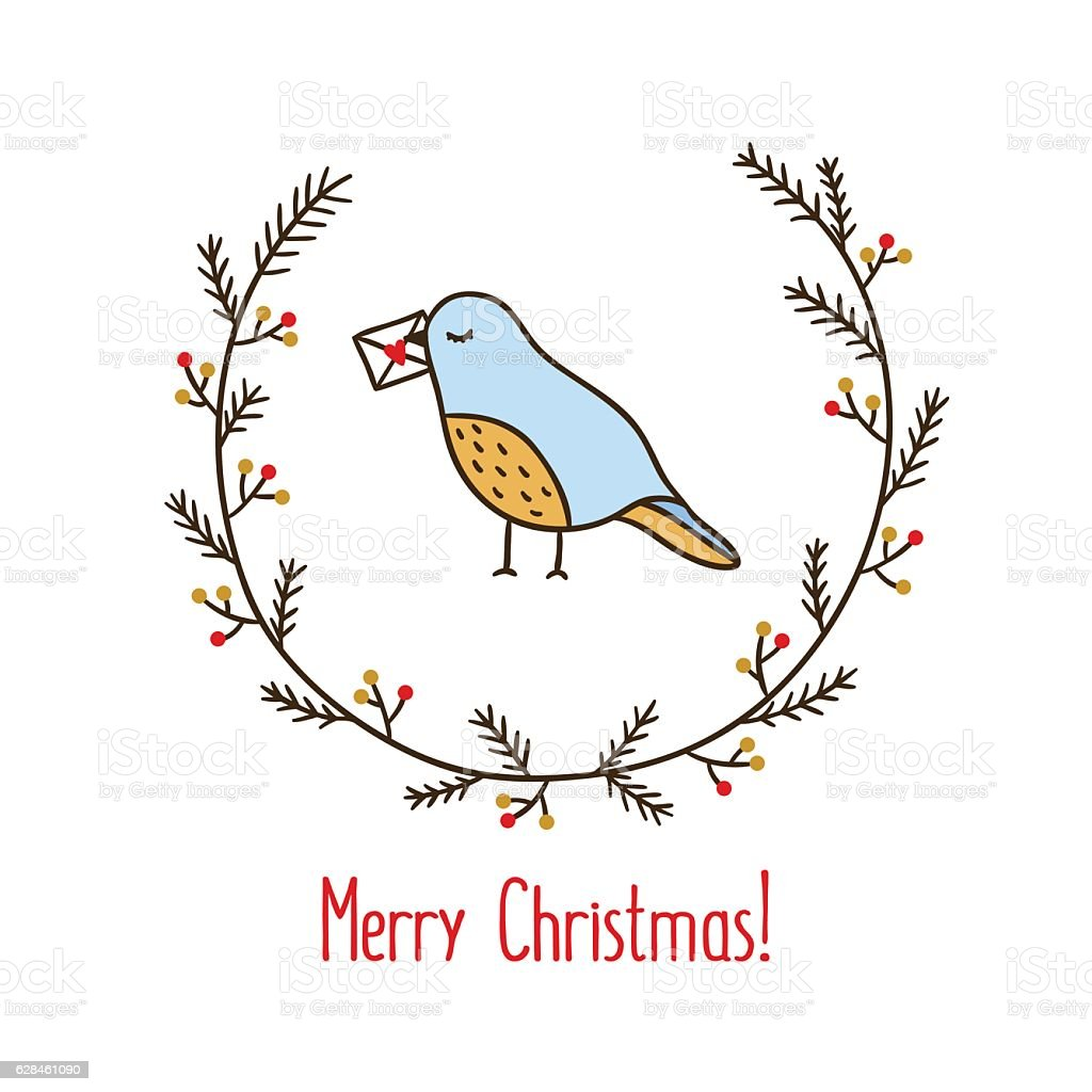 christmas wreath with bird holding letter cute hand drawn wreath