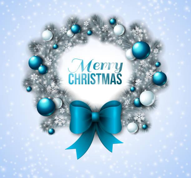 クリスマスのリースは、ブルーとホワイトの宝石。 - 休日/季節ごとのイベント点のイラスト素材/クリップアート素材/マンガ素材/アイコン素材