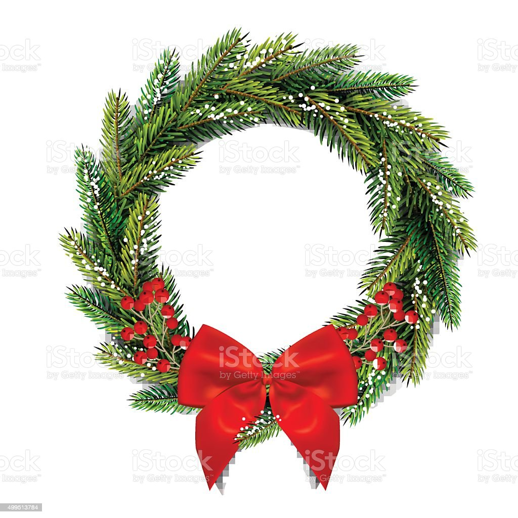 Christmas wreath with bow and red berries. vector art illustration