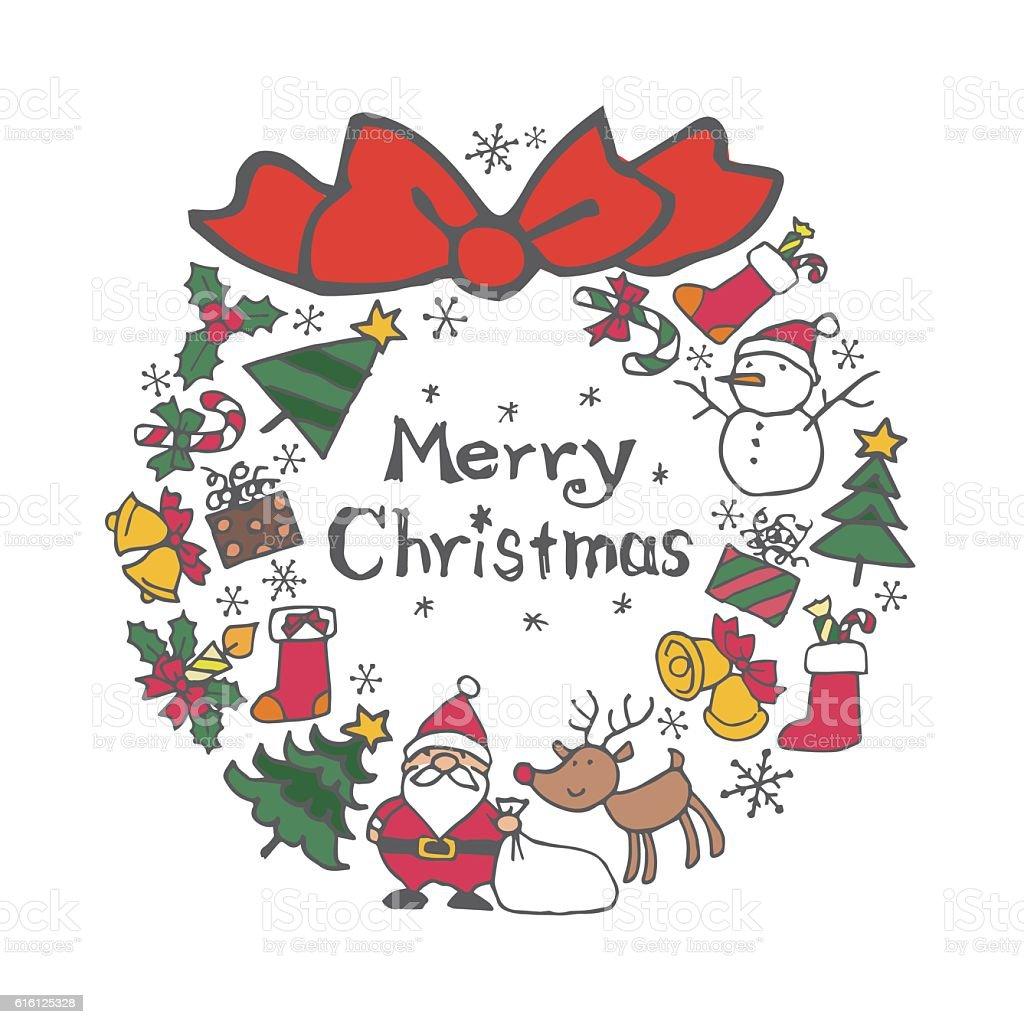 Christmas wreath with christmas elements (Santa Clause, Christma