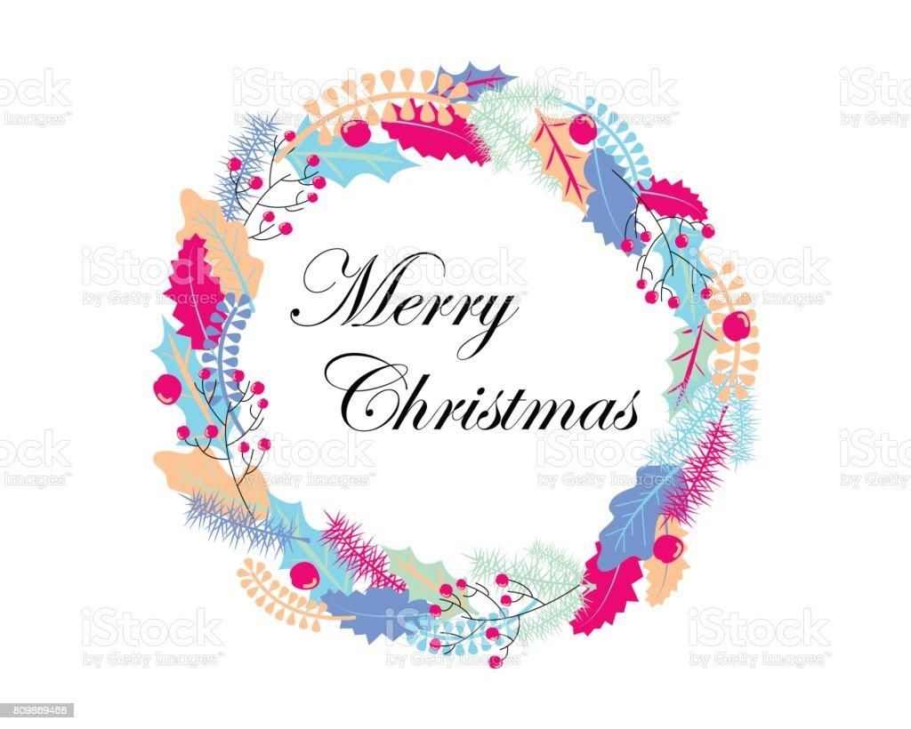 Ilustración de Corona De Navidad Con Hojas De Colores Adornos De ...