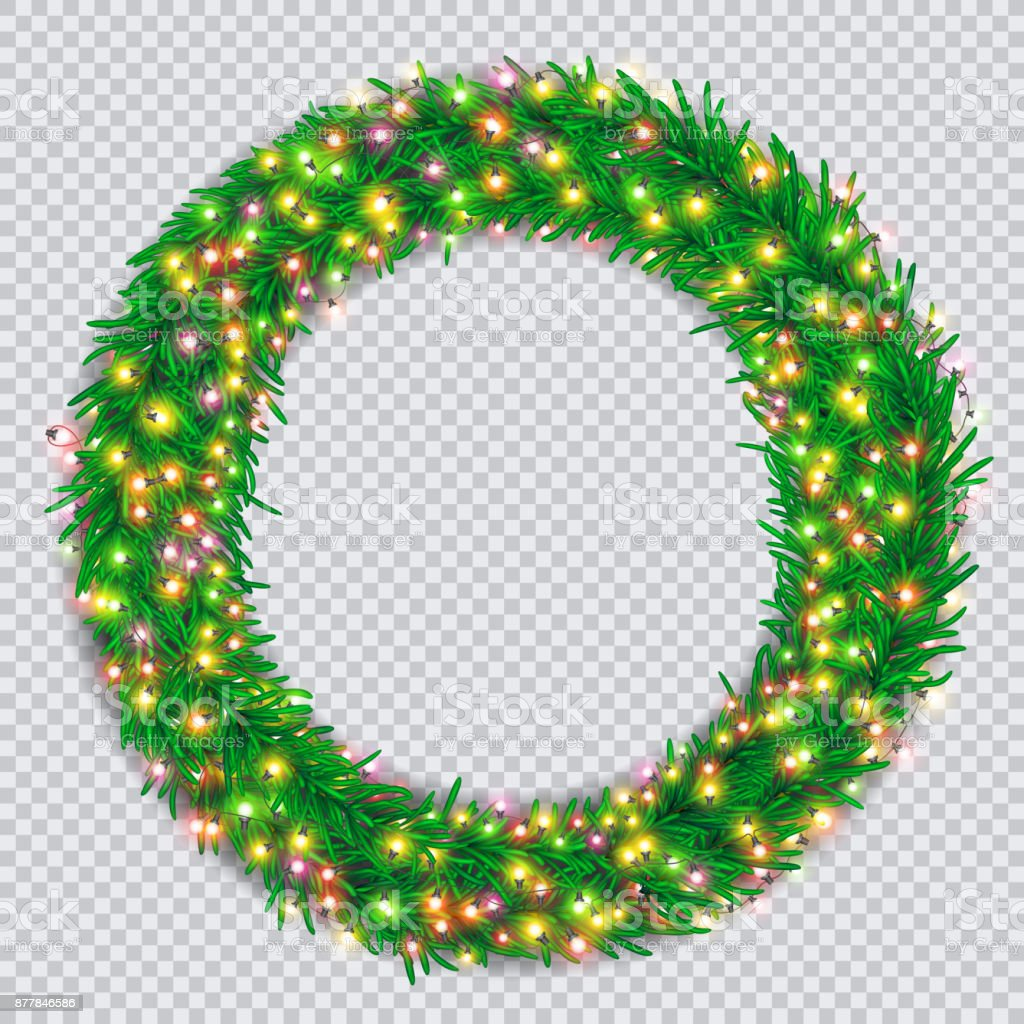 Christmas Wreath With Colourful Glowing Garlands On Transparent