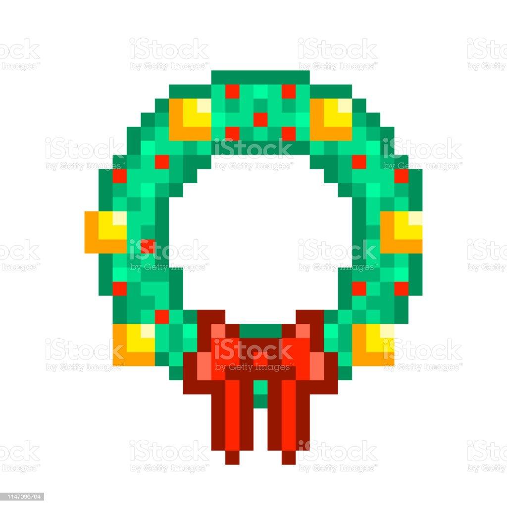 Couronne De Noël Avec Des Boules Dorées Et Noeud Ruban Rouge