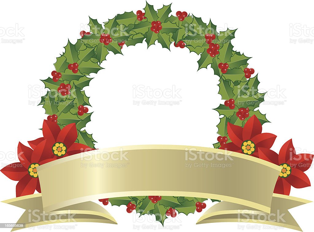 Christmas Wreath with Golden Banner royalty-free stock vector art