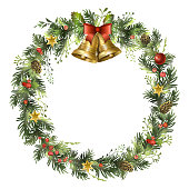Christmas wreath with golden bells, mistletoe leaves, fir branches and holly berries. Vector illustration.