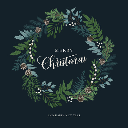Christmas wreath with holly berries, mistletoe, pine and fir branches, cones, rowan berries. Xmas and happy new year postcard. Vector illustration