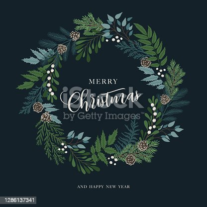 istock Christmas wreath with holly berries, mistletoe, pine and fir branches, cones, rowan berries. Xmas and happy new year postcard. Vector illustration 1286137341
