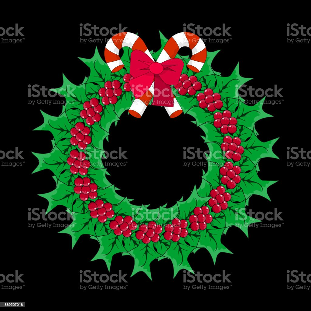 Christmas wreath with mistletoe and candy cane icon symbol design christmas wreath with mistletoe and candy cane icon symbol design vector christmas illustration isolated on buycottarizona Image collections