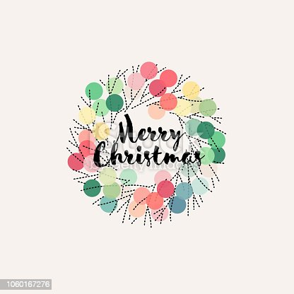 Christmas wreath with pastel colored pom poms and dry tree branches. Editable dashed line stroke