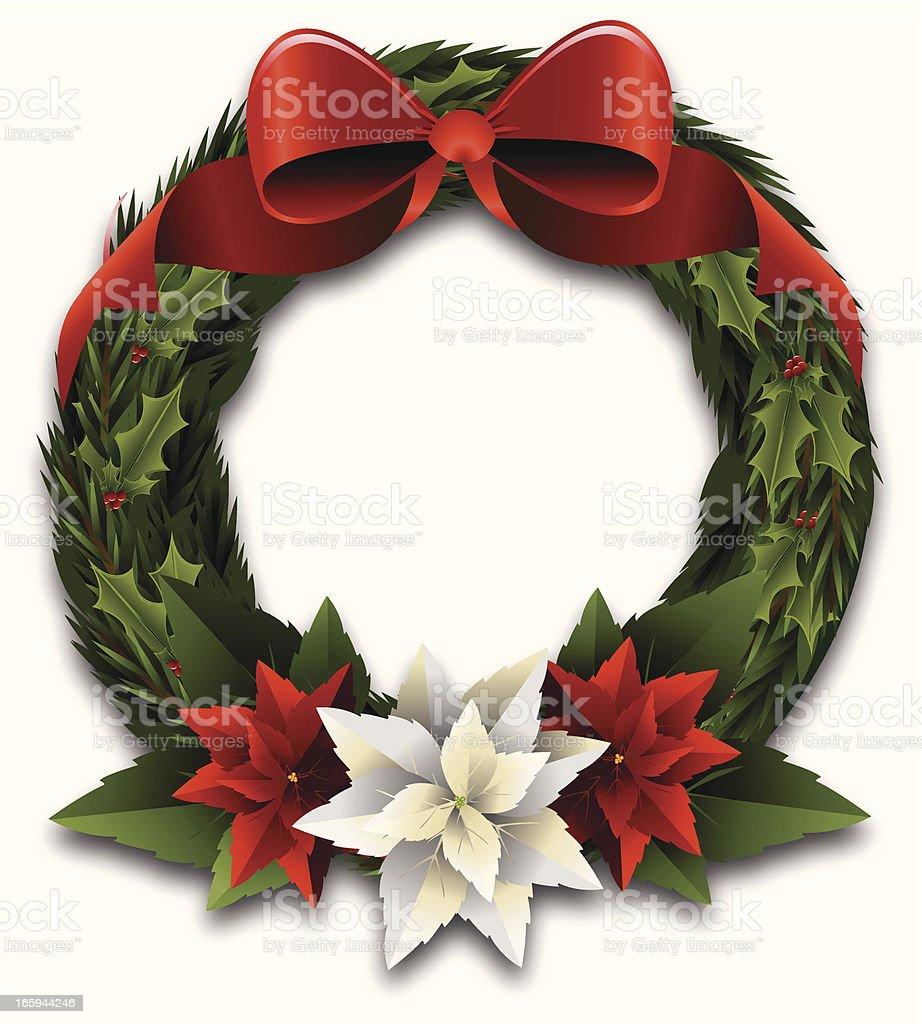 Christmas Wreath with Poinsettias vector art illustration