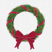 Christmas Wreath with ribbons with red bow. Decorated of pine branches in background white and snow. Vector