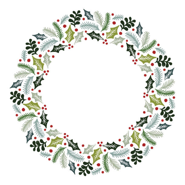 라운드 프레임 Copyspace 수 있는 카드 디자인 벡터 레이아웃 크리스마스 화 환 장식 키트, 초대장, 인사말 카드, 블로그, 포스터, 메리 크리스마스와 새 해 복 많이 받으세요에 대 한 사용 될. 벡터 아트 일러스트