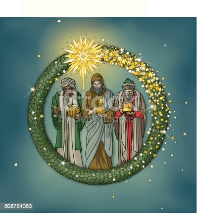 istock Christmas wreath with three wise men and star of beethlehem 508784083