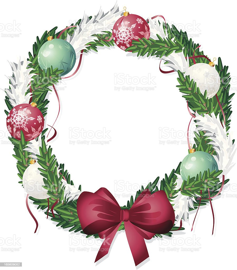 Christmas Wreath With Tinsel And Baubles Royalty Free Christmas Wreath With Tinsel And Baubles Stock