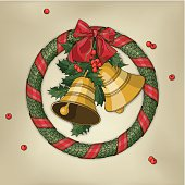 Vector drawing of a christmas wreath with two golden bells, holly and red bow on a yellowed background.