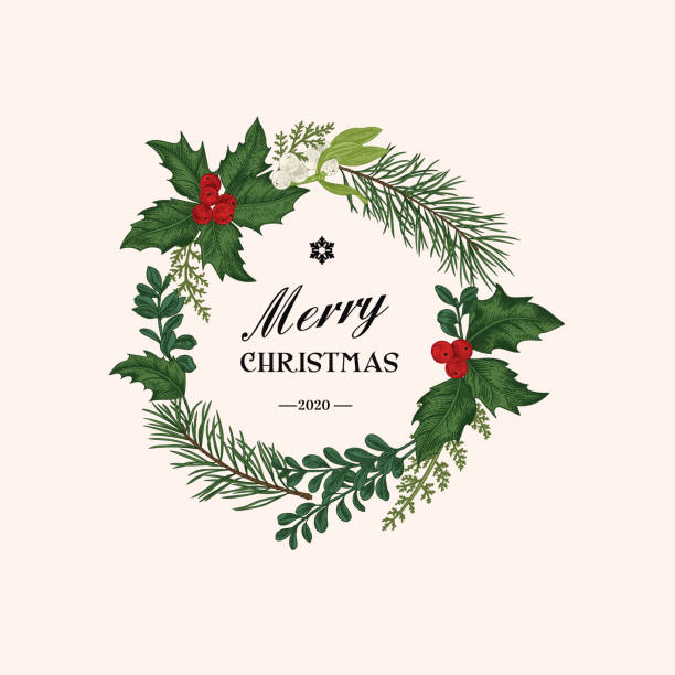 Christmas wreath with winter plants. vector art illustration
