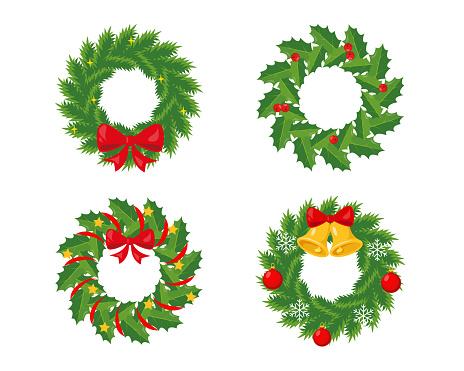 Christmas wreathes set on white background.