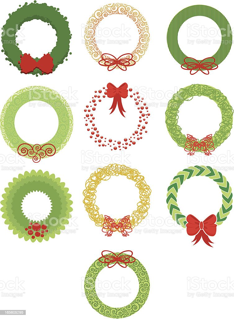 Christmas Wreaths royalty-free stock vector art