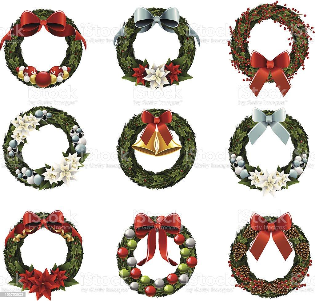 Christmas Wreaths royalty-free stock vector art