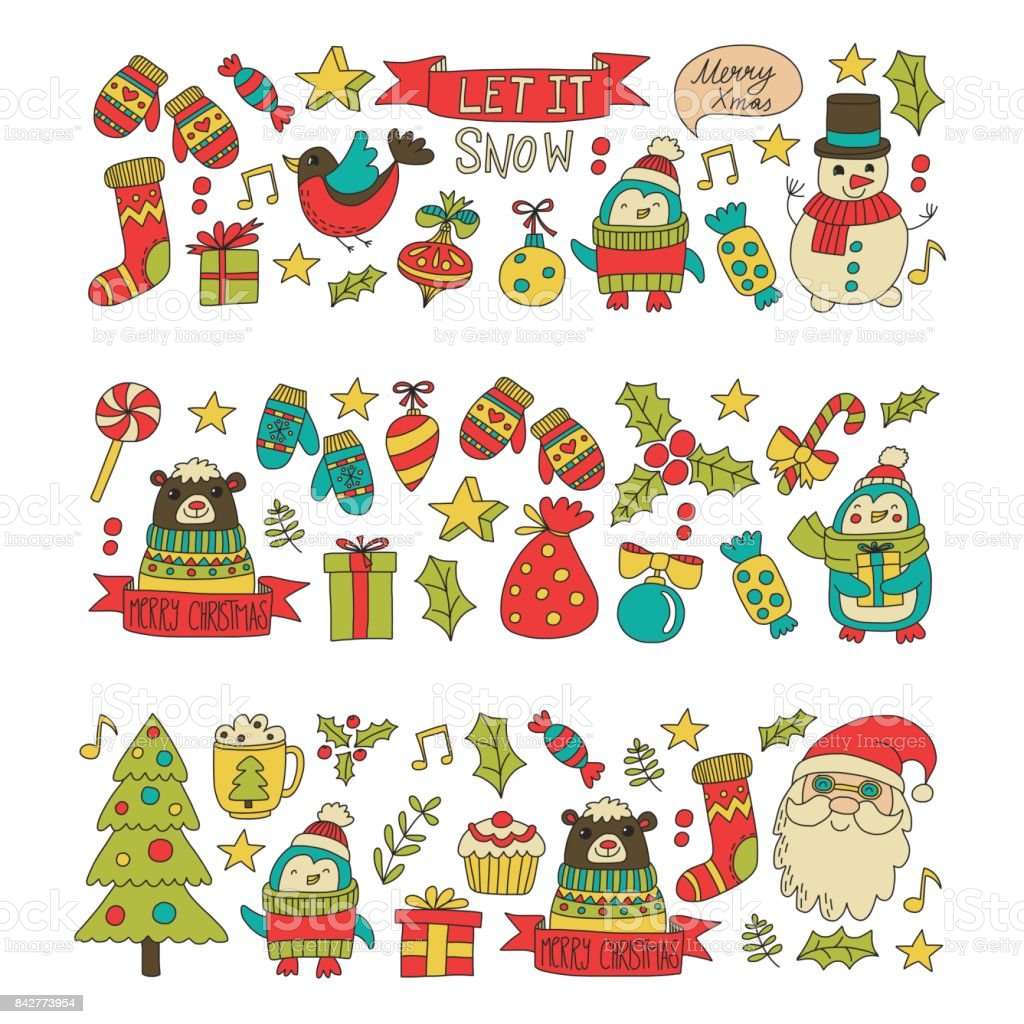 Christmas Xmas New Year Christmas Icons For Backgrounds Decoration ...