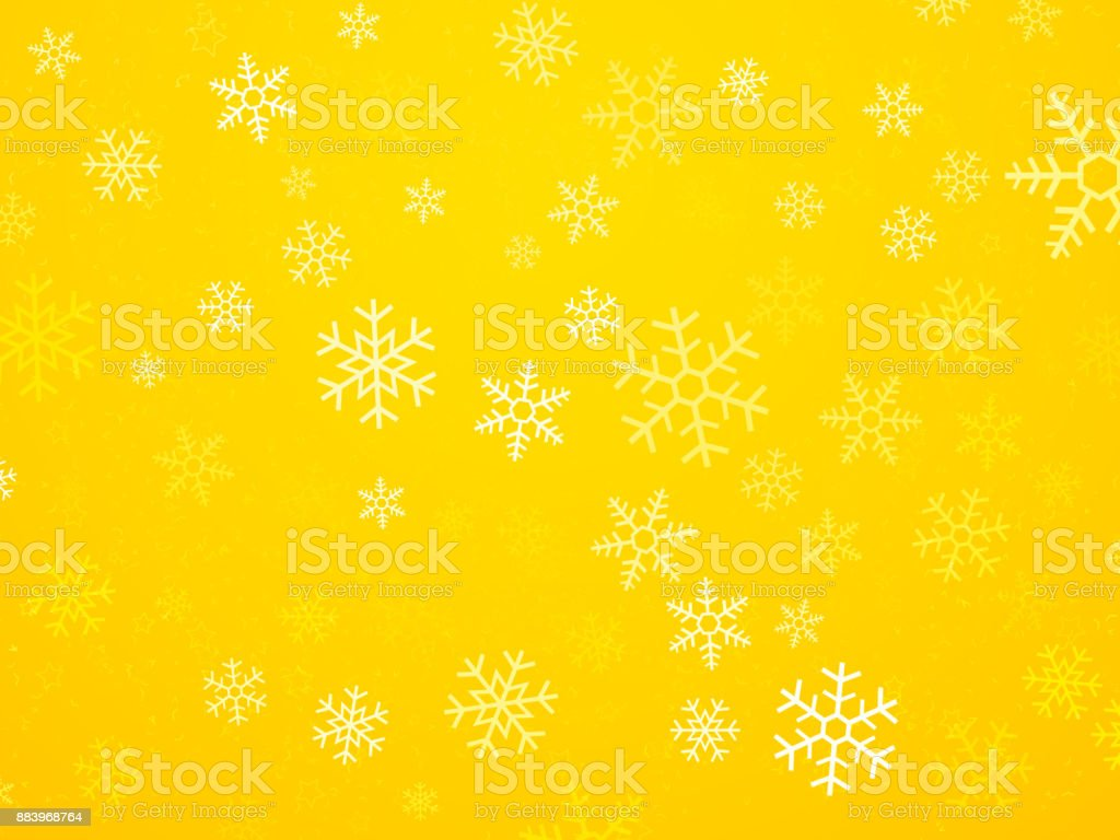 Christmas yellow background with snowflakes vector art illustration