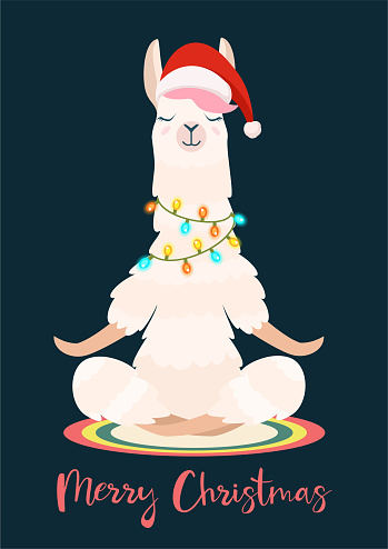 Christmas yoga llama meditates. Vector illustration. Funny festive greeting card.