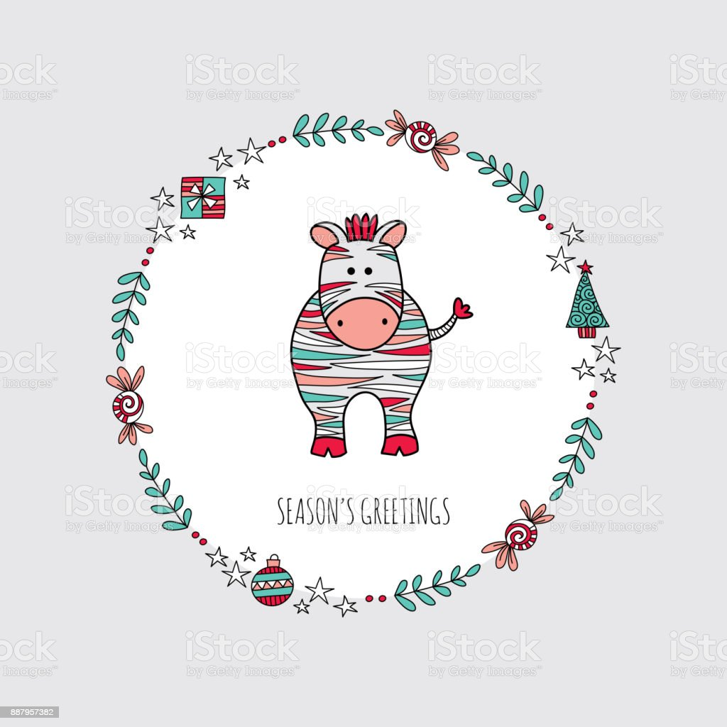 Christmas Zebra Wreath Hand Drawn Doodle Vector vector art illustration