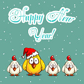 Greeting card with funny cartoon chicks on snowy background. Vector illustration