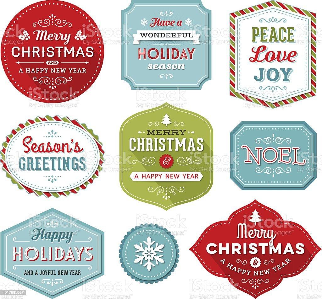 Boże Narodzenie wakacje etykiety — – artystyczna grafika wektorowa