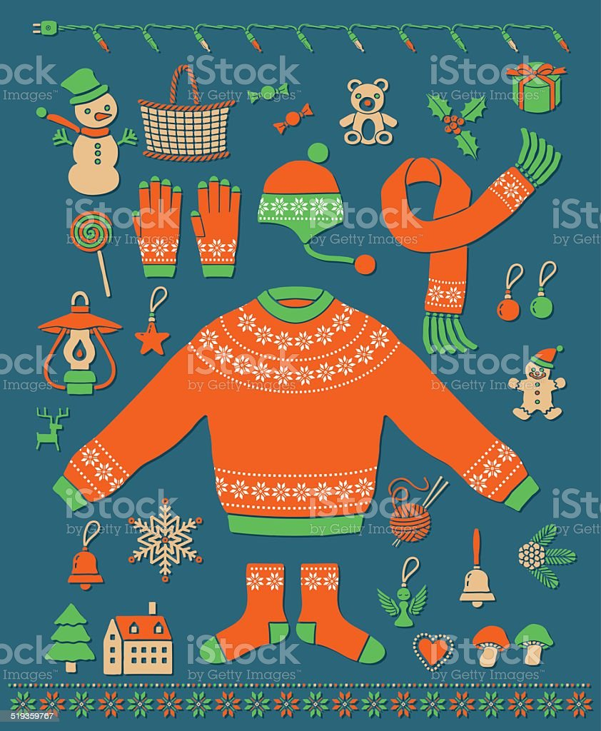 Christmas item vector art illustration
