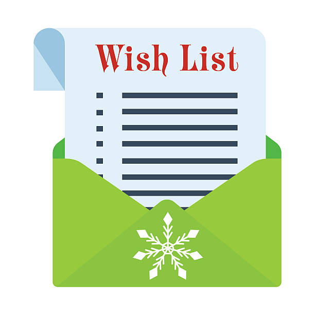 christmass wish list Christmass wish list. Concept of christmass list image. Flat vector cartoon illustration. Objects isolated on a white background. shopping list stock illustrations