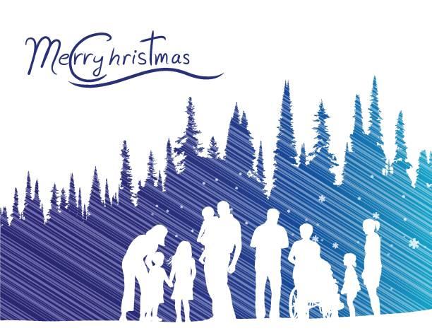 stockillustraties, clipart, cartoons en iconen met christmassnowandreindeer - family winter holiday