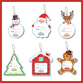 Merry Christmas ornaments set design tag for greeting card.