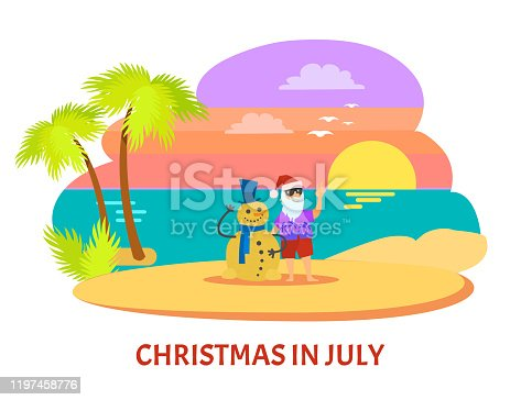 istock Christmmas in July on Beach with Sunset Vector 1197458776