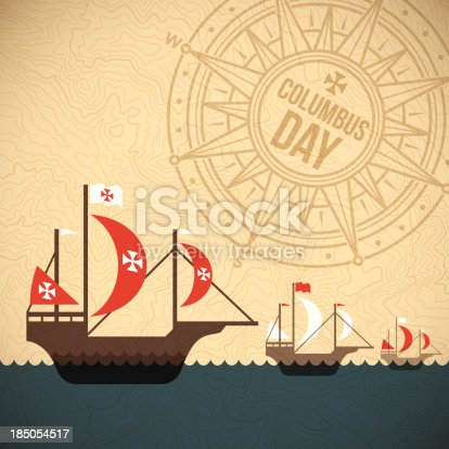 Columbus Day fleet of ships background concept. EPS 10 file. Transparency effects used on highlight elements.