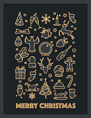 Christmas card design with golden icons and Christmas wishes