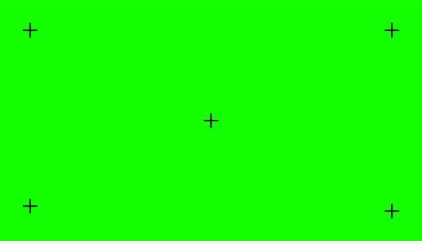 stockillustraties, clipart, cartoons en iconen met chroma sleutel, lege groene achtergrond met beweging tracking punten. visuele effecten componeren. achtergrondsjabloon scherm. vectorillustratie - green screen