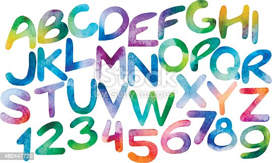 Chromatic watercolor letters and numerals. Vector alphabet isolated on white background