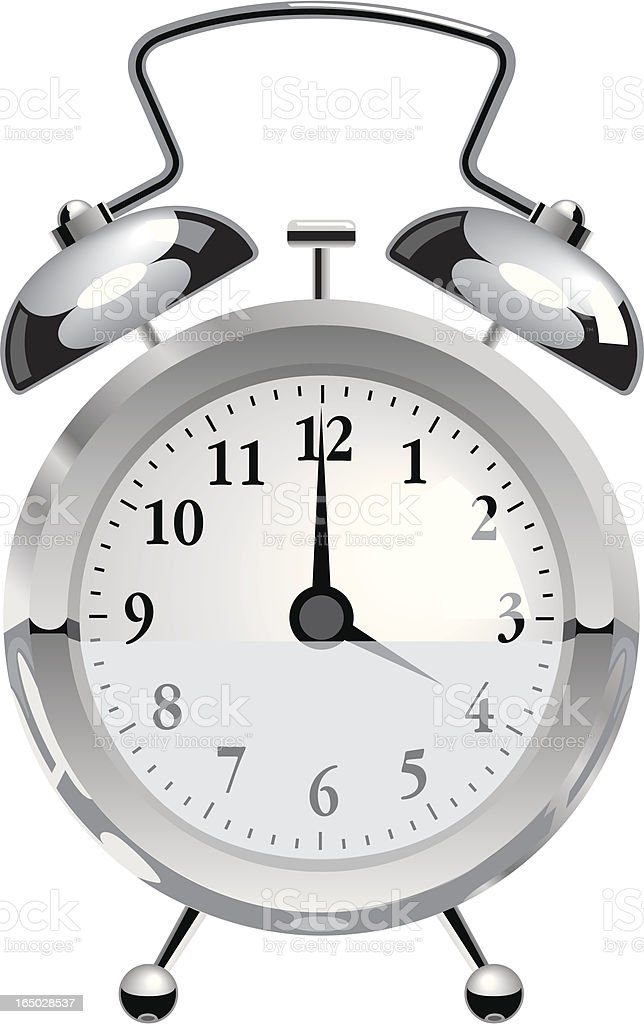Chrome Alarm Clock royalty-free stock vector art