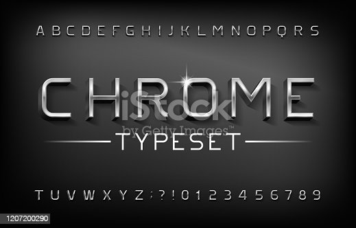 istock Chrome alphabet font. 3D metal letters and numbers with shadow. 1207200290