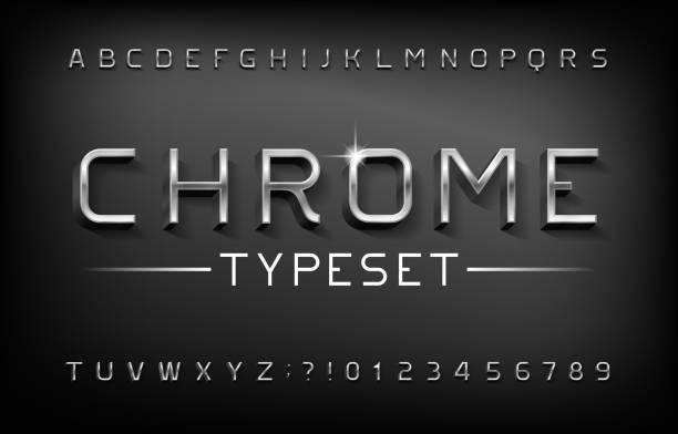 ilustrações, clipart, desenhos animados e ícones de fonte de alfabeto cromado. letras metálicas 3d e números com sombra. - cromo metal