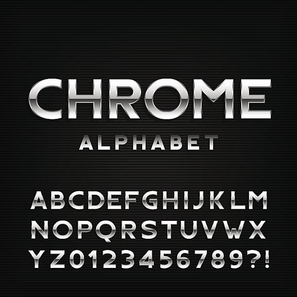 chrome alphabet font. metal effect letters and numbers. - 크롬 stock illustrations