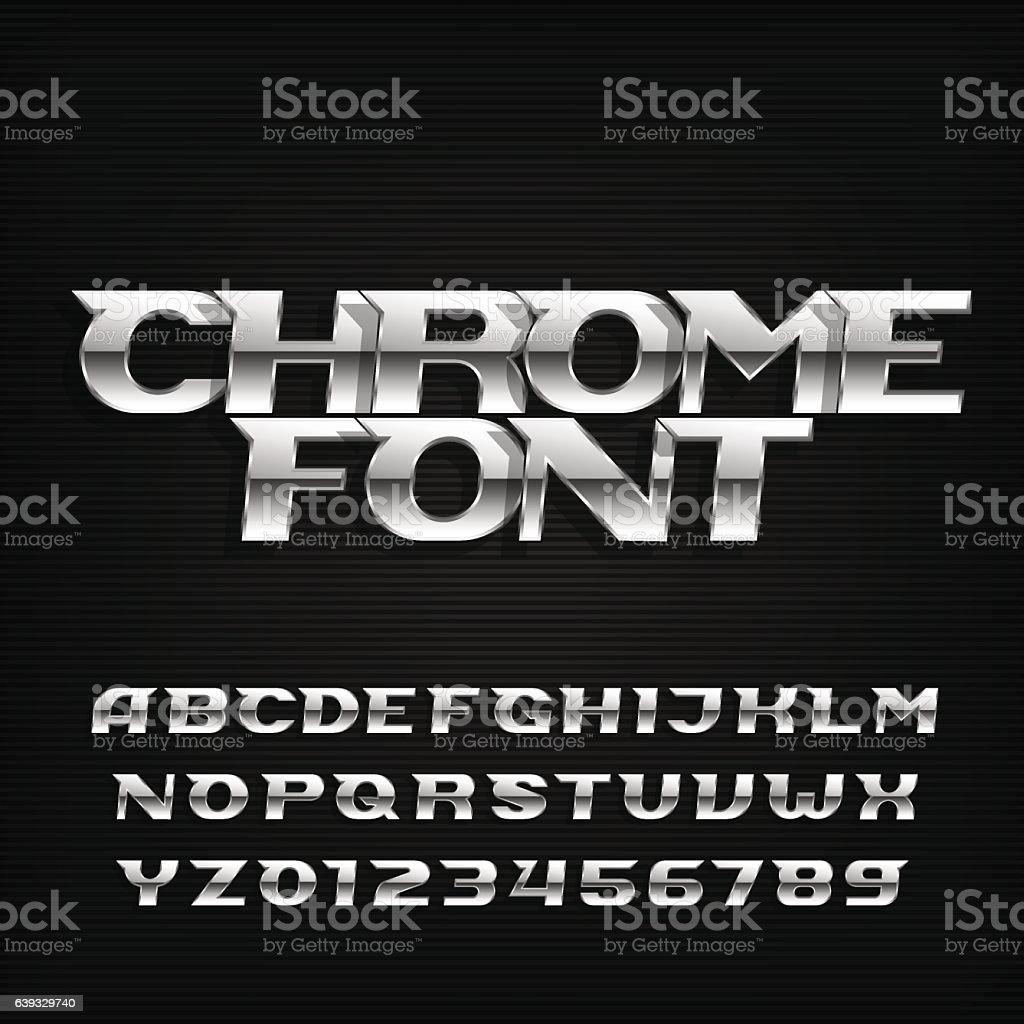 Chrome alphabet font. Metallic effect italic letters. royalty-free chrome alphabet font metallic effect italic letters stock illustration - download image now
