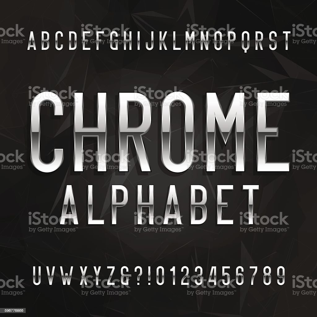 Chrome alphabet font royalty-free chrome alphabet font stock illustration - download image now