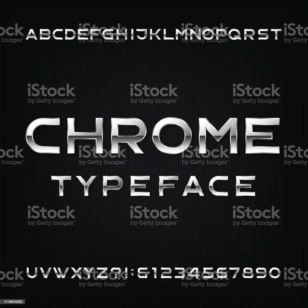Chrome Alphabet Vector Font. royalty-free chrome alphabet vector font stock illustration - download image now