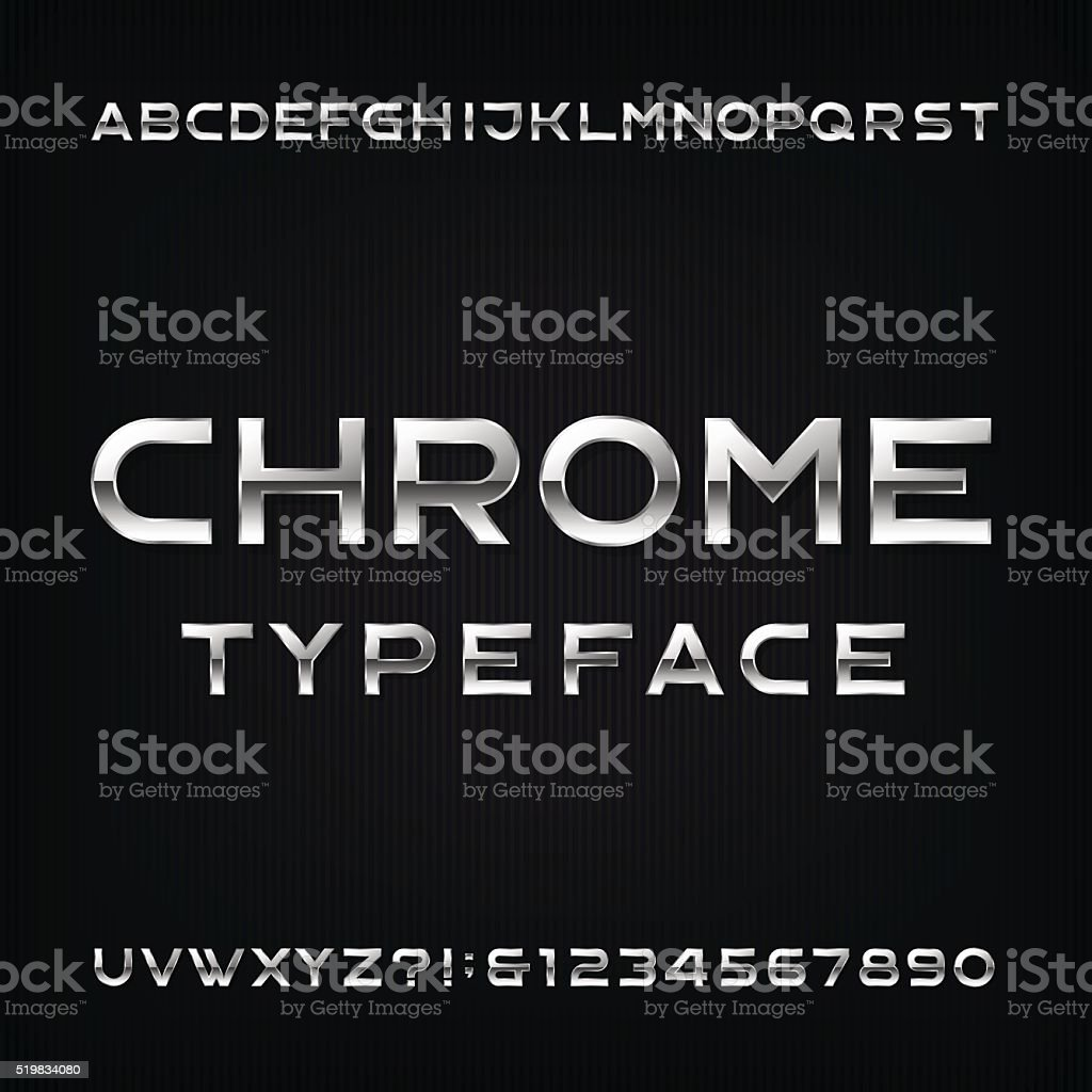 Chrome Alphabet Vector Font. vector art illustration